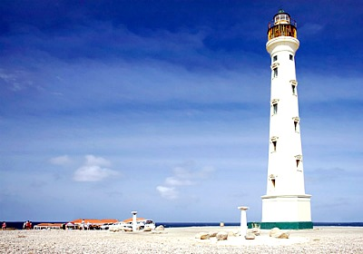 The California lighthouse - an eye-catching scene a bit outside of Oranjestad.