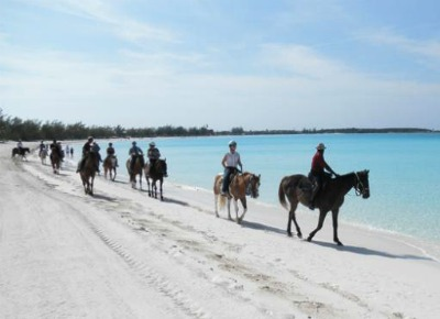 Horseback riding is a popular activity on this beautiful Bahamas island.