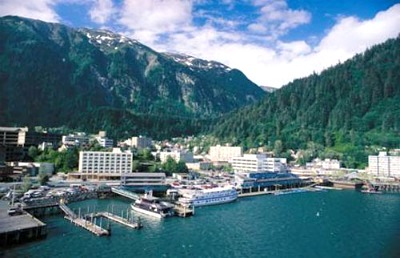 The beautiful Juneau, resting between the mountains and the sea.