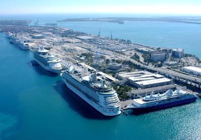 Miami has a very large cruise port, with many cruise ships departing and arriving every day.