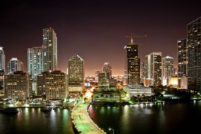 Downtown Miami at night.