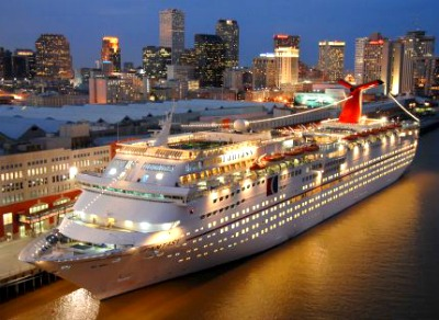 Cruise ship docked at New Orleans cruise port.