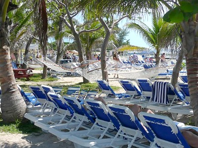 There are many hammocks on Great Stirrup Cay beach that you can use to relax and to sleep.