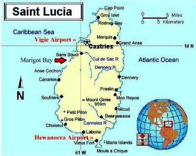The map of Saint Lucia island.