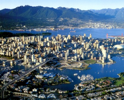 Aerial picture of Vancouver. Can you see the beautiful mountains in the back?