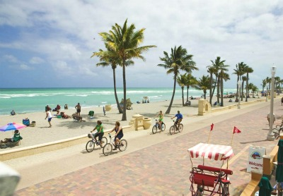 The Hollywood Beach boardwalk - a favorite place for both locals and tourists.