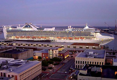 A cruise ship docked at the Galveston port.