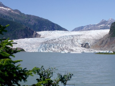 The Mendenhall Glacier, perhaps the most famous site near Juneau.