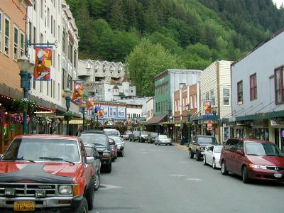 A typical street in Juneau lined with small diners and restaurants as well as souvenir shops where you can find great Alaskan memorabilia.