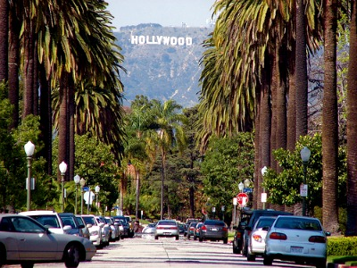 A scene in Los Angeles. Can you see the Hollywood hill sign?