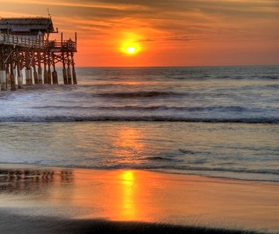 You can enjoy a beautiful sunset from the Cocoa Beach.