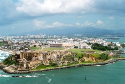 The aerial view of Old San Juan.