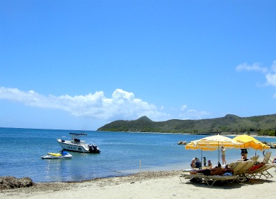 People are having a great time at Great Salt Pond beach.