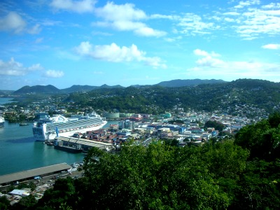 Castries, the capital of St. Lucia, from a hill-top.
