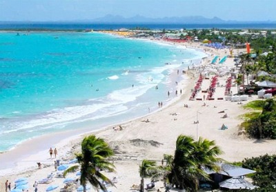 The Orient Beach, one of the most famous beaches in Caribbean region.
