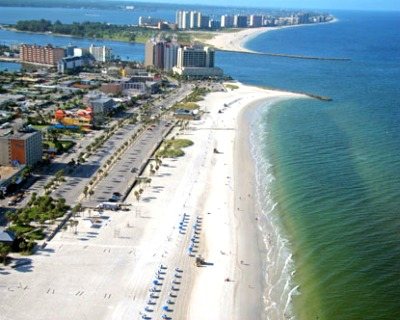 The Clearwater beach, a popular destination for both locals and tourists.